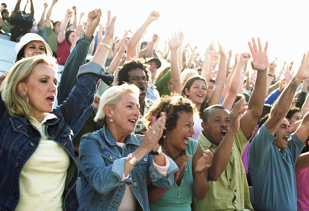 people sitting on bleachers at sports game cheering